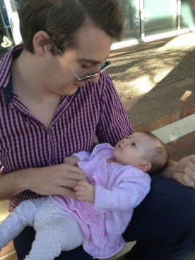 My brother meet Ayla for the first time today